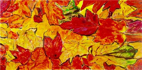 'Autumn Leaves' Resin Coated Acrylic Painting on Canvas/ Artist Gill Fahey
