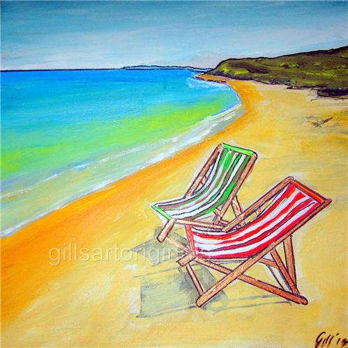 "'Whitsunday Beach Chairs' 45X45cms/18""x18"" Aussie Artist Gill Fahey/Ink/Acrylic"
