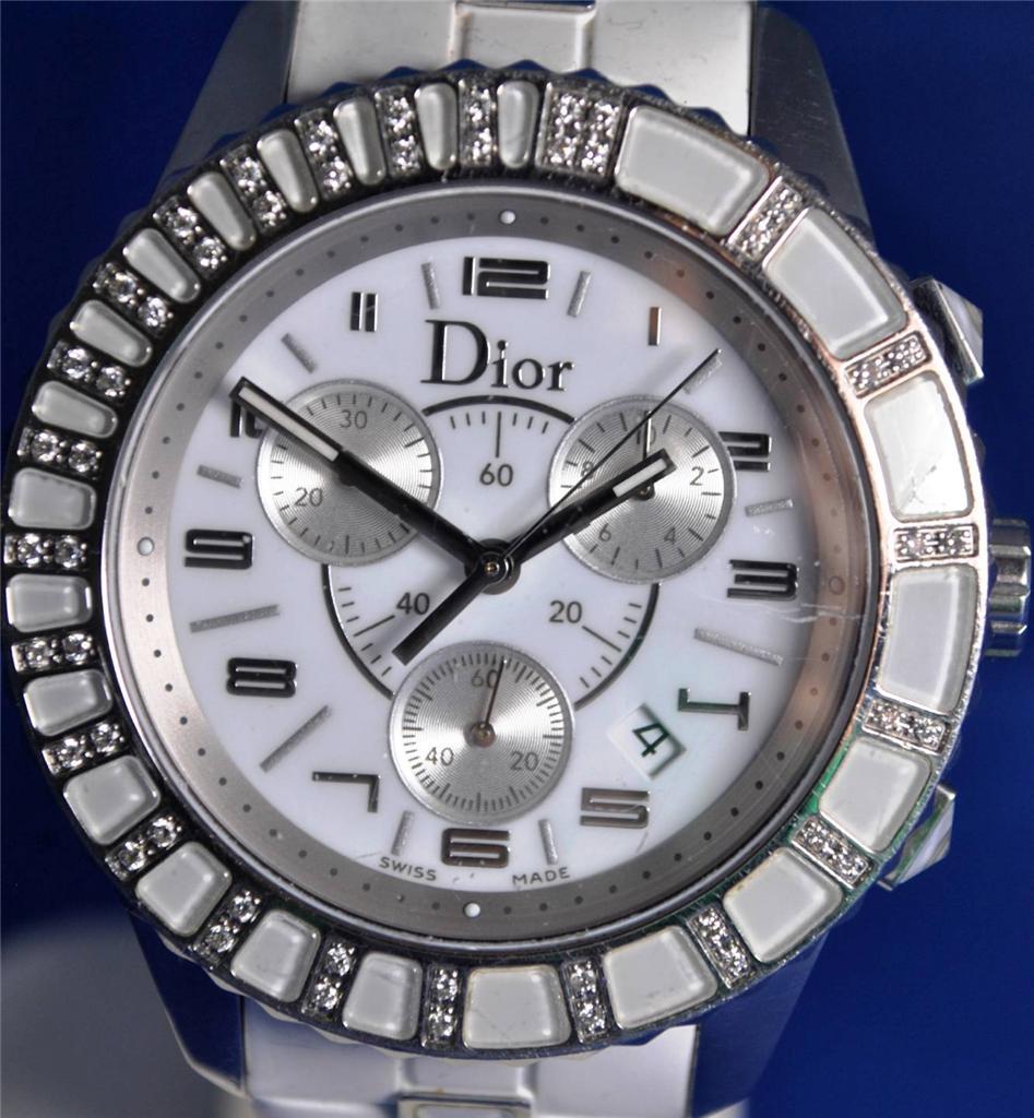 Christian dior christal diamond bezel quartz chronograph ladies watch is watch for Christian dior watches