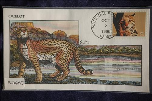 Endangered species ocelot 32c stamp fdc handpainted for R2605