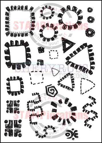 "ARTSY TRIBAL DOODLES 5"" by 7"" Stamp Set"