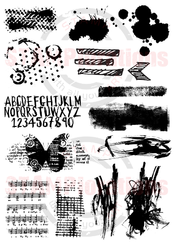 "SCRIBBLY SPLATTERY GRUNGE 5"" by 7"" Stamp Set"