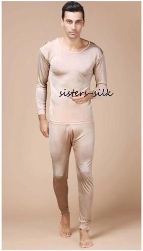 Men's 100% Pure Silk Long Johns Thermal Underwear Set Sisters-silk ...
