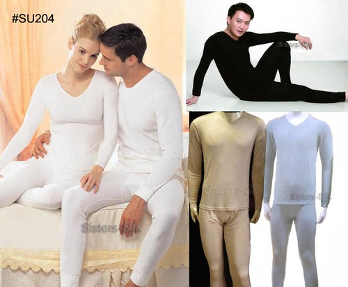 Men's Heavy Weight 100% Pure Silk Long Johns Thermal Underwear Set ...