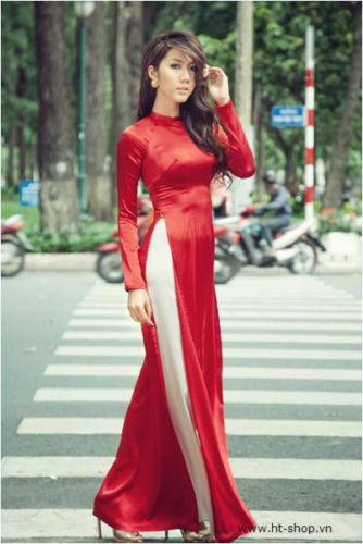 Popular Traditional Vietnamese Dress White Miss Vietnam Ngoc Han Charming