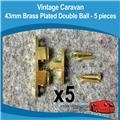 Caravan 43mm Brass Double Ball Catches ( 5 )