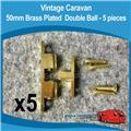Caravan Brass 50mm Double Ball Catches ( 5 )