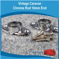 Caravan  Chrome Flange Rod Ends 16mm Flat