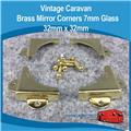Brass Mirror Corner Bracket   7mm Glass  32mm x 32mm