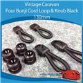 Caravan Camper FOUR BUNJI CORD LOOP & KNOB BLACK 130MM, Vintage,Viscount