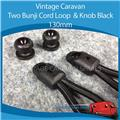 Caravan Camper TWO BUNJI CORD LOOP & KNOB BLACK130MM ( 2 Pack )