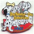 Disney 101 Dalmatians 4 Dalmatians Dated 1961  pin/pins