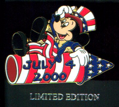 Disney  WDW - Mickey Mouse on July 4 Rocket Pin/Pins