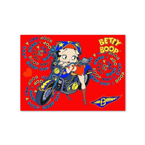 3d Betty Boop Motorcycle girl Animated Red Print