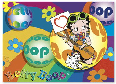 3d Betty Boop sexy with Guitar as Elvis Animated Print