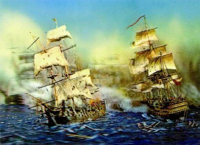 3d Lenticular 2 Naval Battle Sailing Ship Print