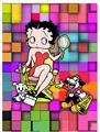 3d Sexy Betty Boop  pin Up with dog Animated Print
