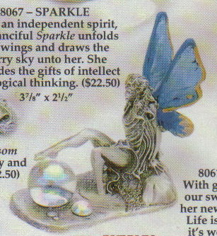 Angel Fairy Blue Wings Hand Painted Pewter Figurine