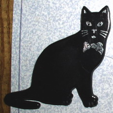 Black & Sliver with bow tie cat Furry Magnet never used