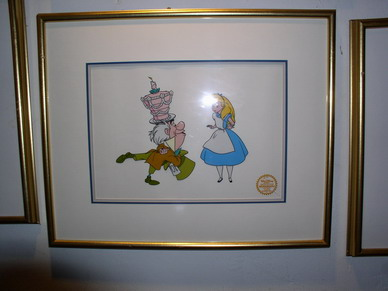Disney Alice Wonderland Art gold seal  Rare