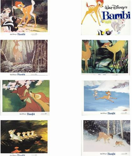 Disney Bambi 8 Lobby Cards very hard to find from 1982