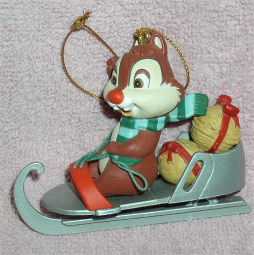 Disney Chip & Dale Rare Figurine in sled  Mint in box