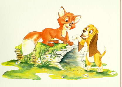 Disney Fox & The Hound Rare Water Color