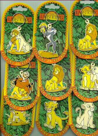Disney Lion King  Key Chains Set of 8 Rare