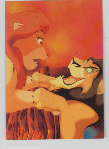 Disney Lion King Simba & Scar fighting to the end