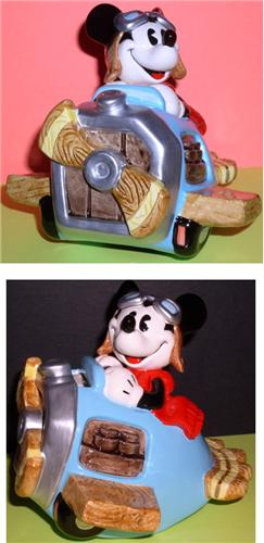 Disney Mickey Airplane Pilot Porcelain Bank