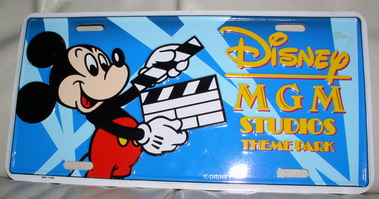 Disney Mickey MGM Studios License Plate