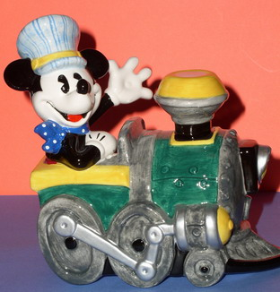 Disney Mickey Mouse Train Engineer Porcelain Bank Rare