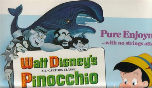 Disney Pinocchio entire Cast with Whale  Lobby Card