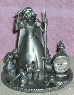 Disney Snow White & 7 Dwarf Pewter Clock Rare
