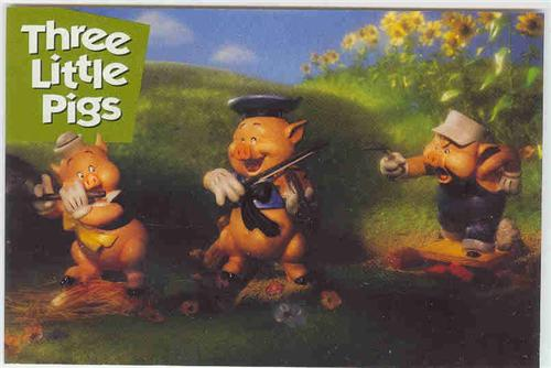Disney WDCC Wolf & three Pigs Print Never Sold Cheap