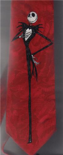 Nightmare Before Christmas Jack Skeleton Black & Red Tie