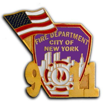 9/11 Fire Department Heroes Shield Flag Commerative Lapel Pin Badge