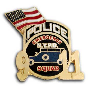 9/11 Police  Emergency Lapel  Flag Pin Badge