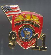 9/11 New York Police Flag  Commerative Logo Pin/Pins Badge