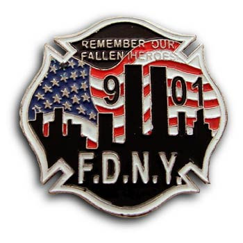 9/11 FIRE DEPARTMENT Heroes TWIN TOWERS Commerative Lapel Pin Badge