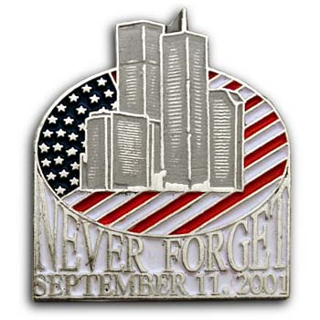 9/11 Flag   Lapel  TWIN TOWERS Flag Pin/Pins  Badge