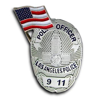 9/11  Police Officer Los Angeles Commerative Lapel Flag Pin Badge