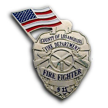 9/11 Fire Fighter Silver Commerative Lapel USA Flag Shield Badge
