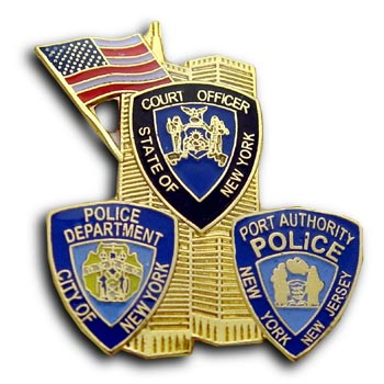 9/11 Court Officer  PD PAP Twin Tower Lapel USA Flag Shield Commerative Pin Badge