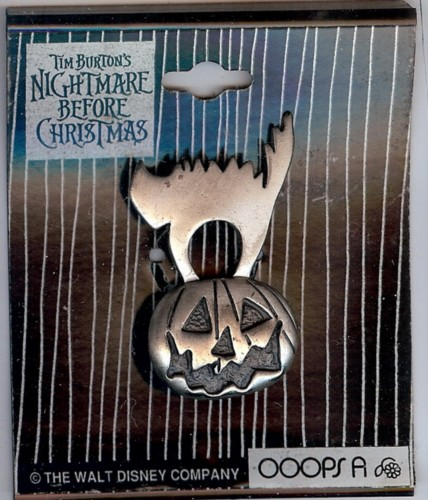 Nightmare Before Christmas cat on pumpkin pin/pins