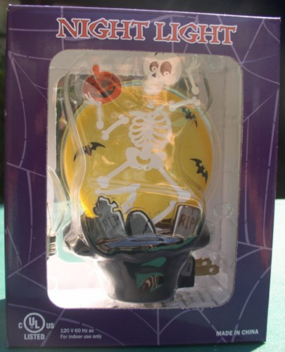 Skeleton Night Light  with RIP Tombstone Halloween