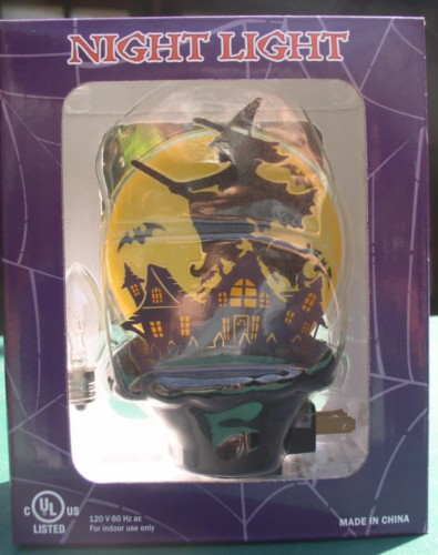 Flying Witch w/ Haunted houses Night Light  Halloween