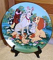 Disney  Lady & Tramp with scottie dog Porcelain plate