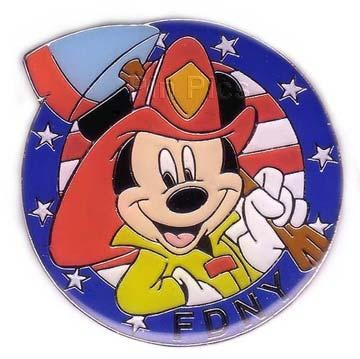 NY Disney Galleries - FDNY Mickey USA  Flag pin/pins