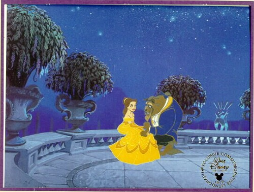 Disney Beauty & Beast  Commemorative Gold Seal Litho